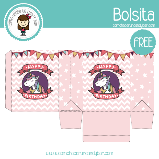 Unicornio Bolsita Para Imprimir Kits Imprimibles Para Fiestas