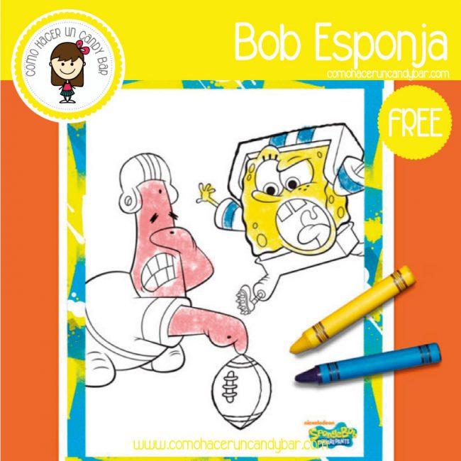 Bob Esponja: Dibujo para imprimir - Imprimibles GRATIS para Candy Bar