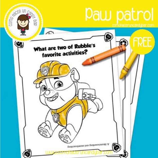 Paw Patrol: Dibujo para imprimir - Imprimibles GRATIS para Candy Bar