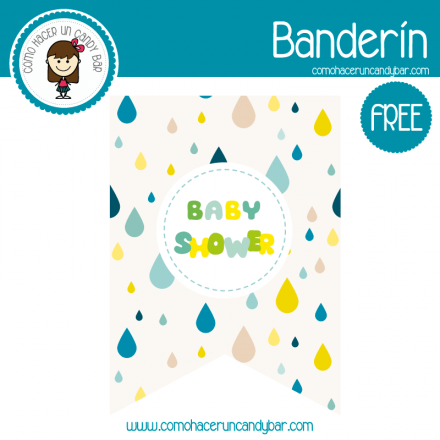 imprimible banderin baby shower para descargar