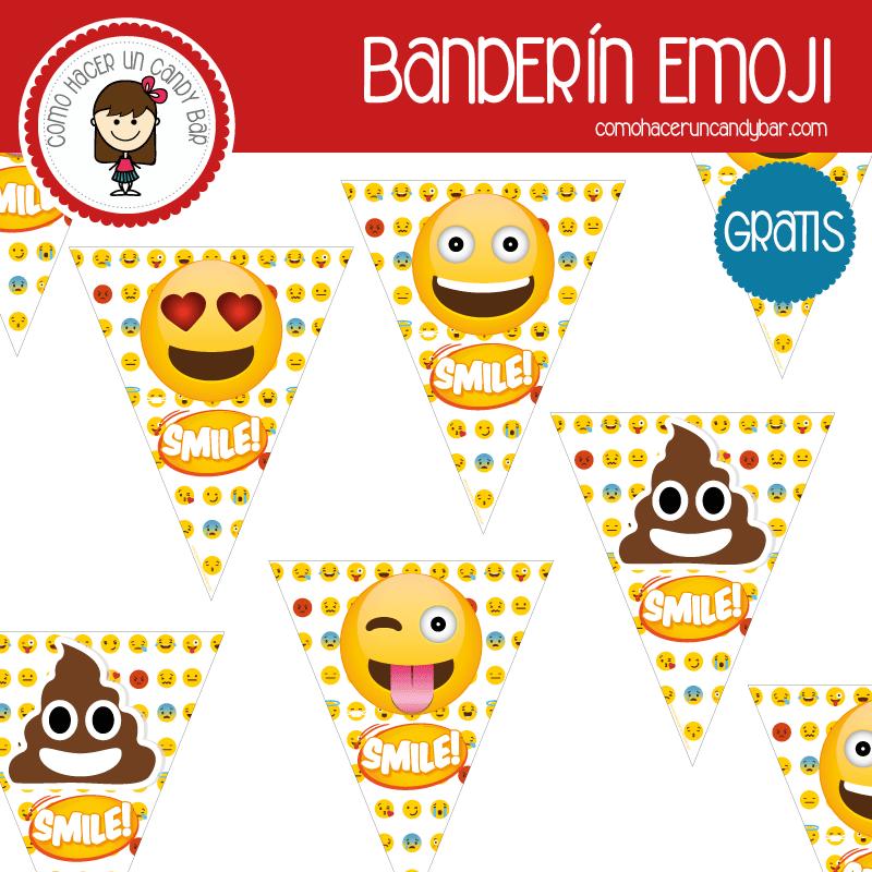 Emoji: Banderín para imprimir - Imprimibles GRATIS para Candy Bar