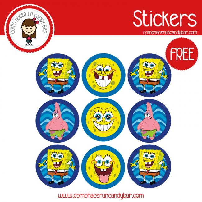 Bob Esponja Stickers Para Imprimir Kits Imprimibles Para