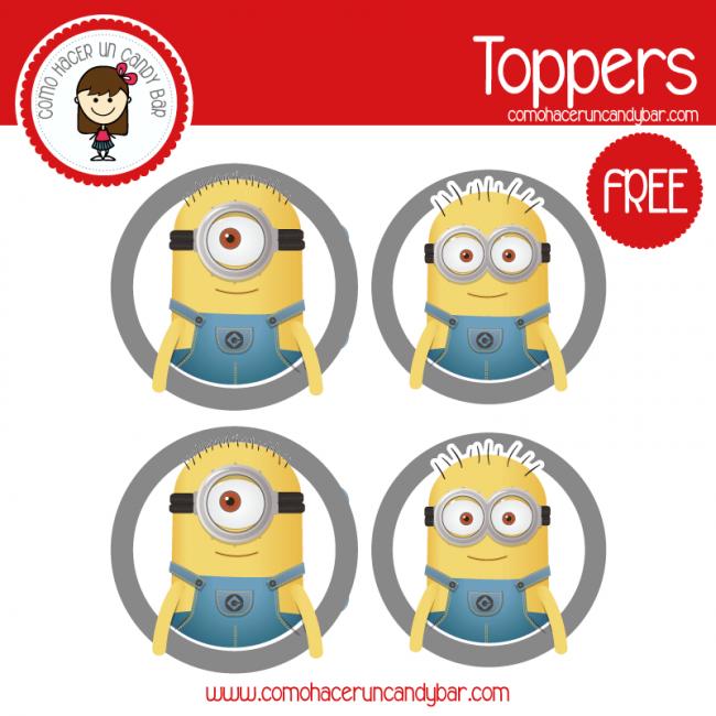 imprimible toppers minions para descargar gratis