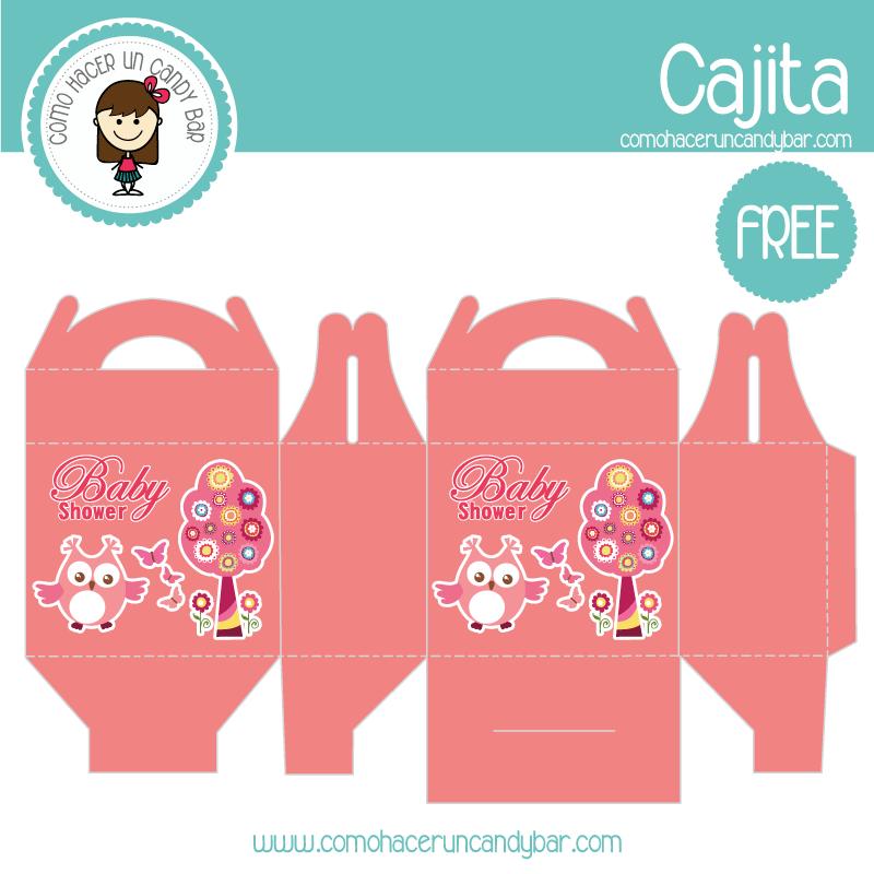 Cajita de baby shower rosa búho para descargar