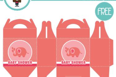 Cajita de baby shower rosa elefante para descargar