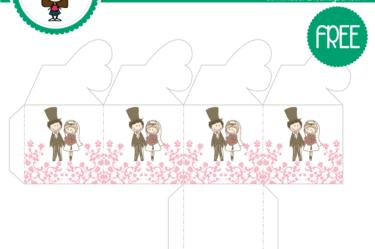Cajita de boda rosa para imprimir gratis