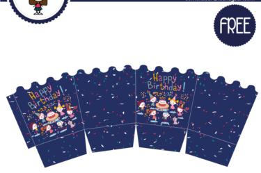 Caja decorativa de cumpleaños azul para imprimir gratis