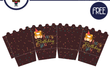 Caja decorativa de cumpleaños cafe para imprimir gratis