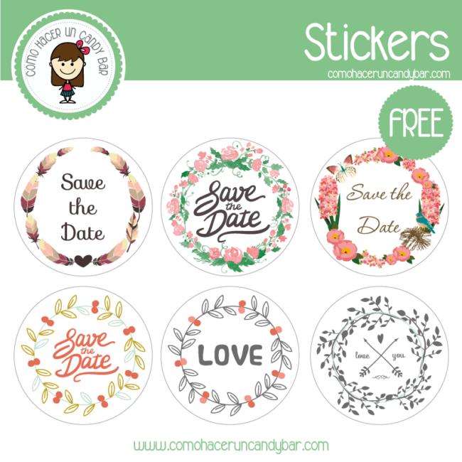 stickers de boda flores para imprimir gratis