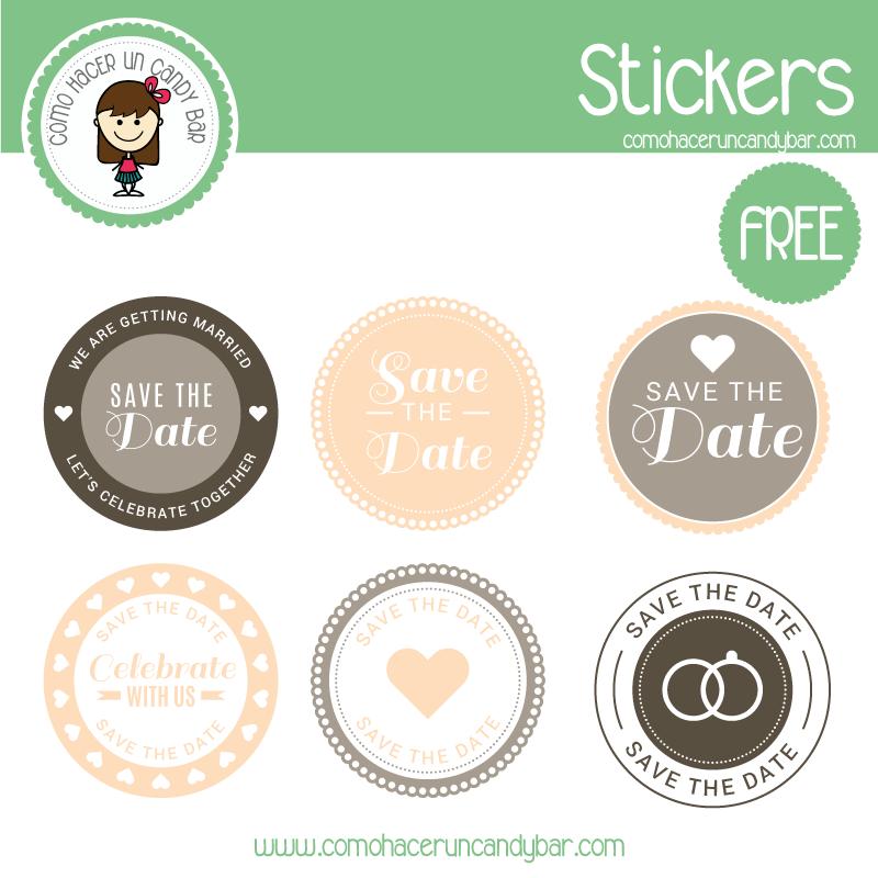 stickers de boda rosa para imprimir gratis