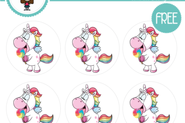 Stickers unicornio de colores para imprimir