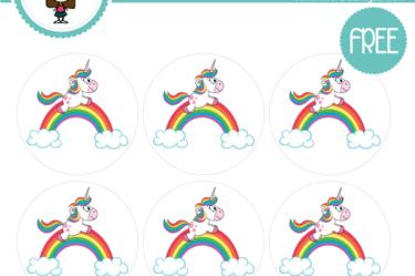 stickers para imprimir de unicornio cumpleaños