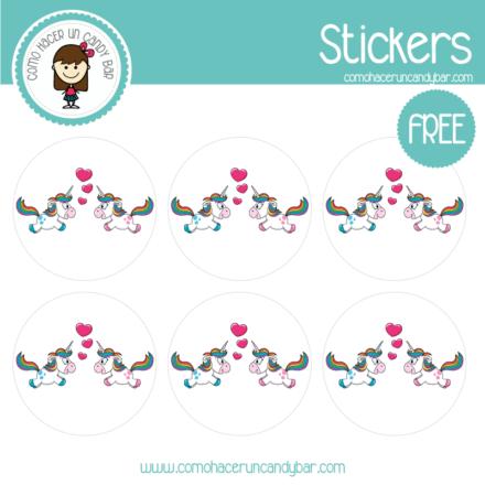 Stickers de unicornio love para imprimir gratis