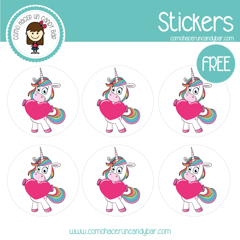 Stickers de unicornio colores para imprimir gratis
