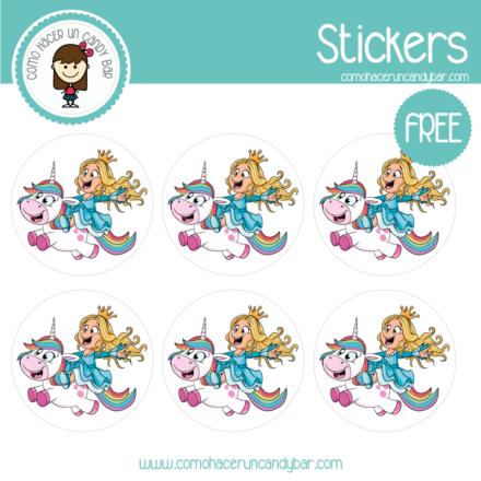 Stickers de unicornio princesa para imprimir gratis
