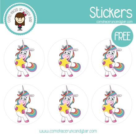 Stickers de unicornio estrella para imprimir gratis