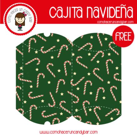 Imprimible de caja bonita navideña bastones para descargar