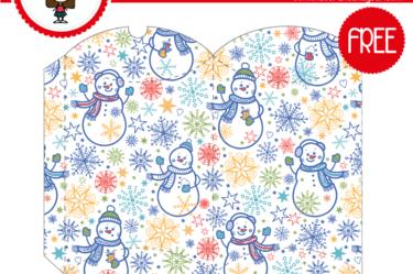 Imprimible de caja bonita navideña mono de nieve para descargar