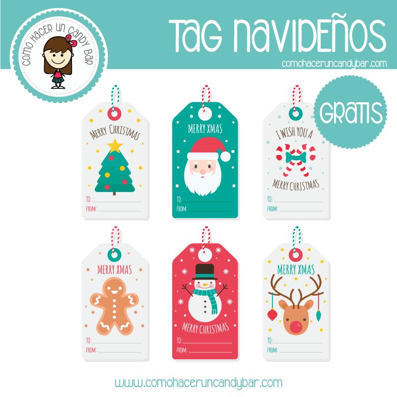 Tag Navideño: imprimible gratis - Imprimibles GRATIS para Candy Bar