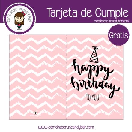 Tarjeta de cumpleaños rosa para descargar gratis