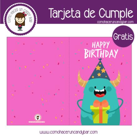Tarjeta de cumpleaños monstruo loco para descargar gratis