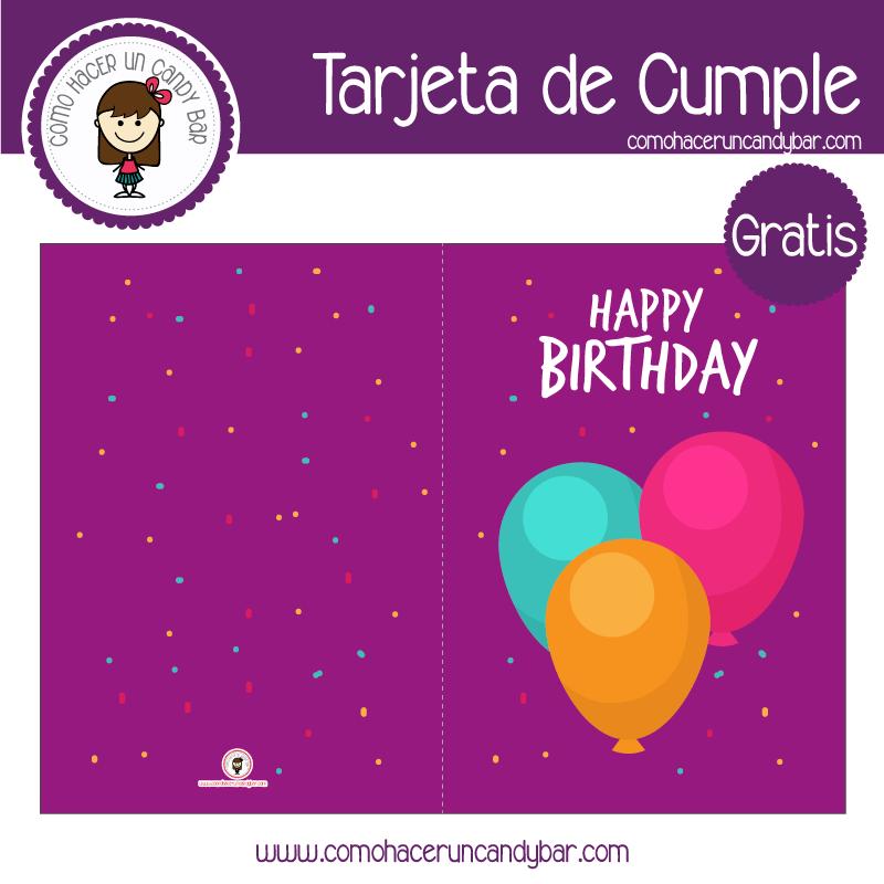 Tarjeta de cumpleaños globitos para descargar gratis