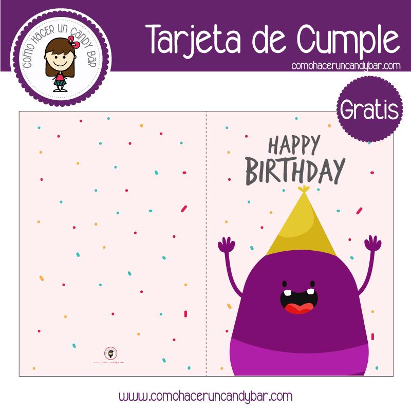 Tarjeta de cumpleaños monstrito para descargar gratis