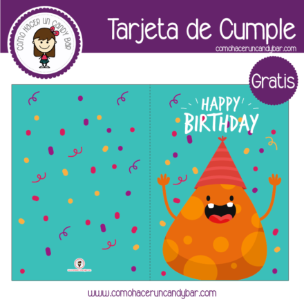 Tarjeta de cumpleaños monstruo para descargar gratis