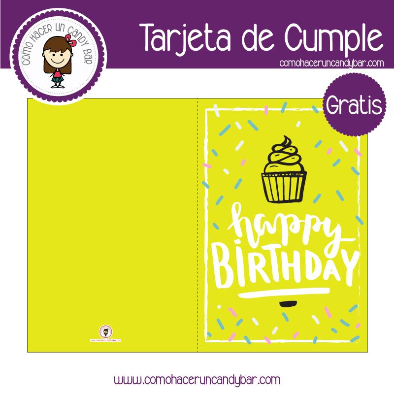 Tarjeta de cumpleaños cupcake para descargar gratis