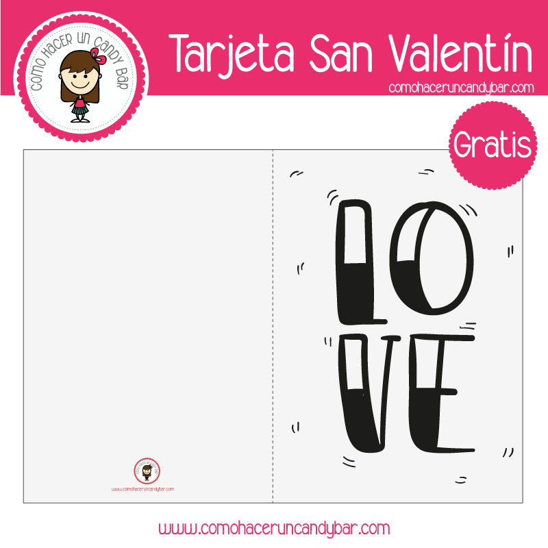 Imprimible: Tarjeta de San Valentín - Imprimibles GRATIS para Candy Bar