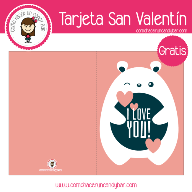 Tarjeta de san valentin osito para descargar gratis
