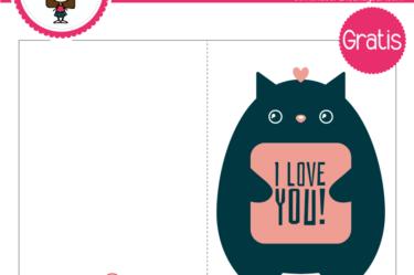 Tarjeta de san valentin gatito para descargar gratis
