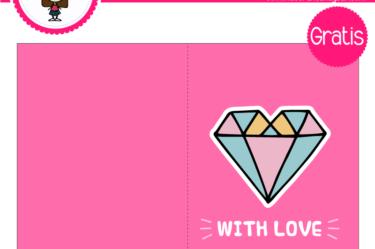 Tarjeta de san valentin diamante love para descargar gratis
