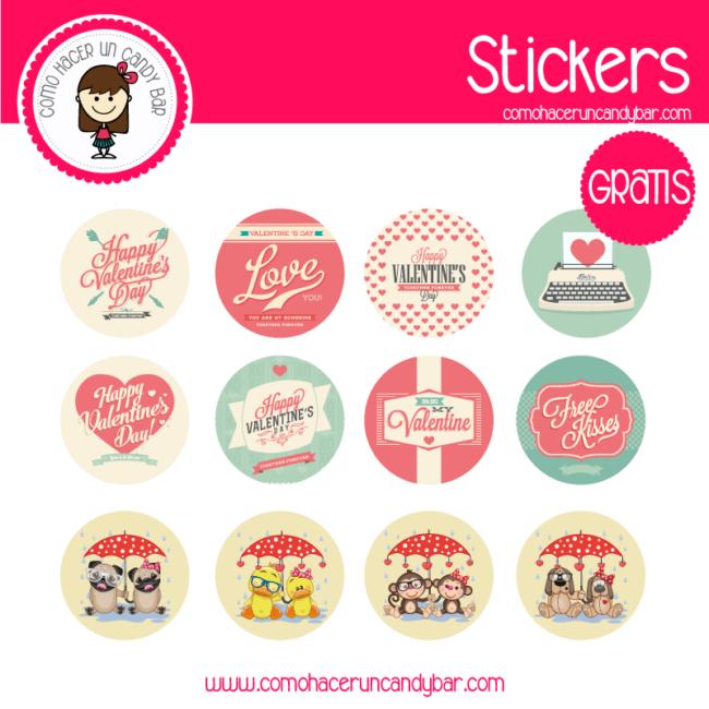 Stickers san valentin vintage para descargar gratis