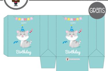 Cajita de cumpleaños gato para descargar gratis