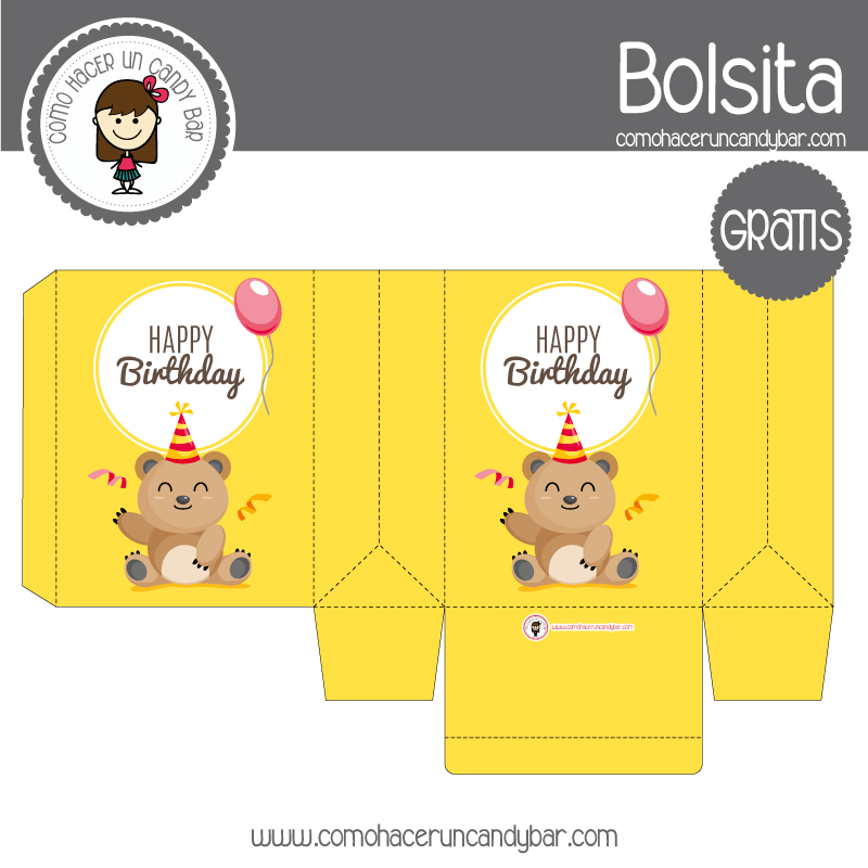 Cajita de cumpleaños de oso para descargar gratis