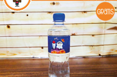 Imprimible Stickers para botella de astronauta para descargar gratis