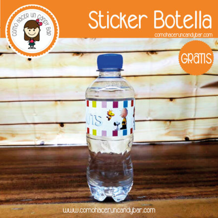 Imprimible Stickers para botella de charlie brown para descargar gratis