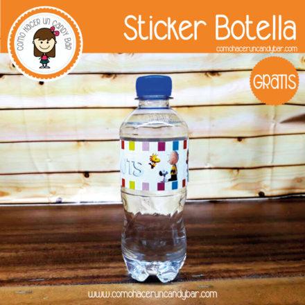 Imprimible Stickers para botella de charlie brown para descargar gratis