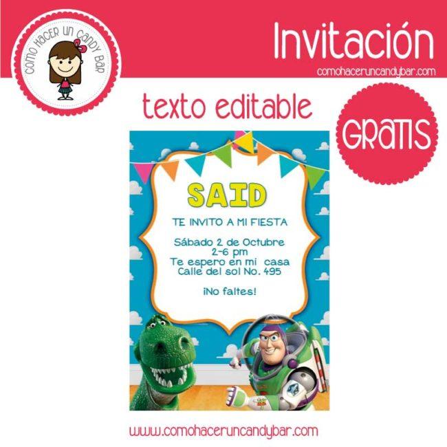 Invitación Editable Gratis Buzz Toys Story Kits
