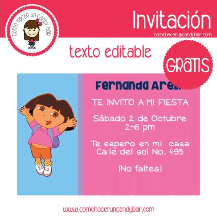 Invitación de Dora la exploradora 3 para descargar gratis