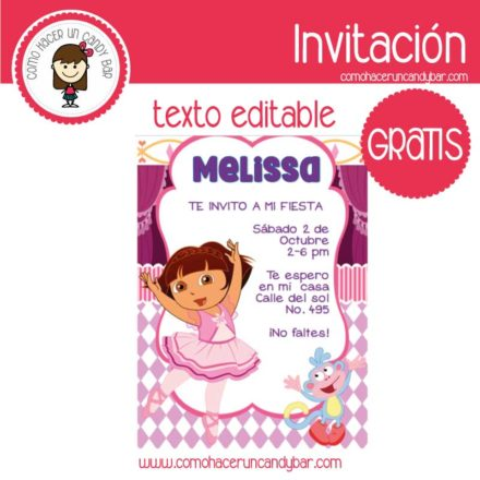 Invitación de Dora la exploradora para descargar gratis