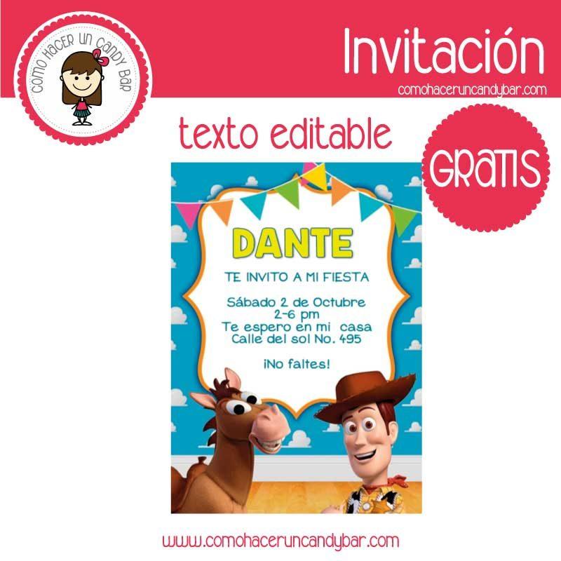 Invitación de guddy toys story para descargar gratis