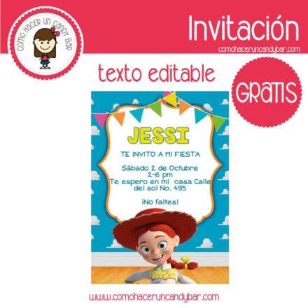 Invitación de jessy toys story para descargar gratis
