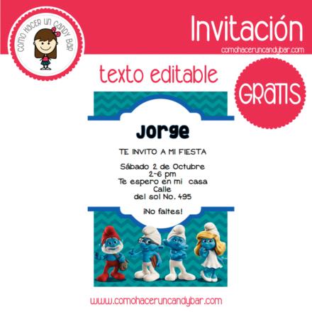 Invitación de los pitufos para descargar gratis