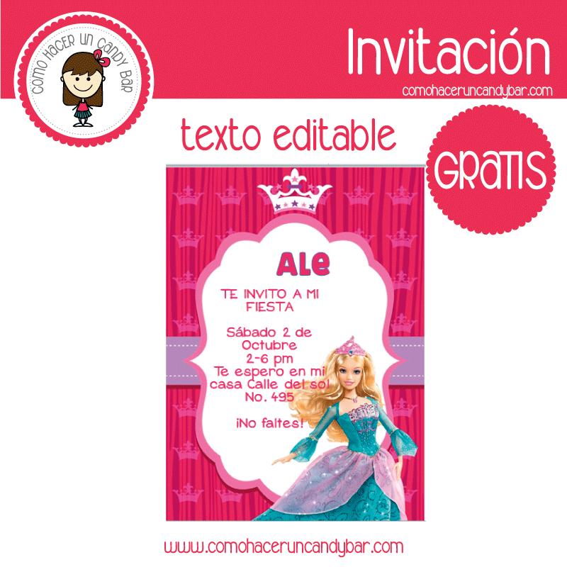 Invitación de Barbie para descargar gratis