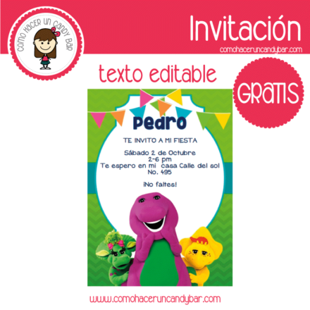 Invitación de Barney para descargar gratis
