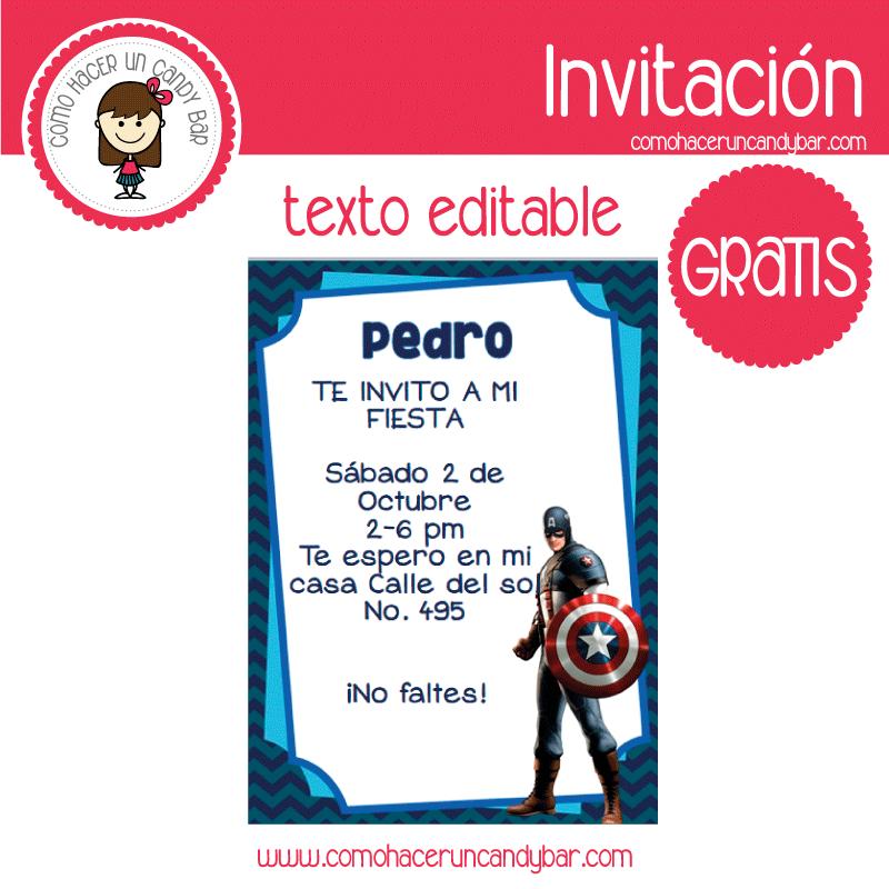 Invitación editable gratis: Capitan America - Imprimibles GRATIS ...