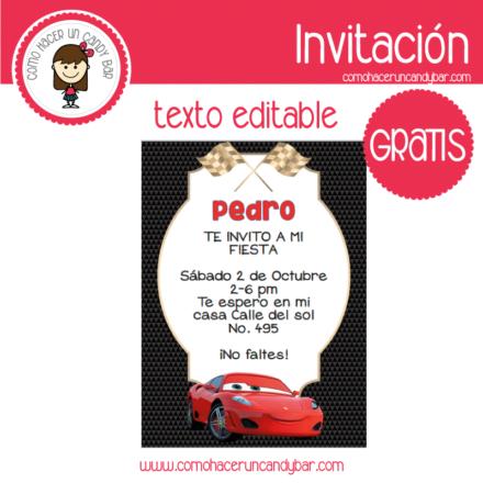 Invitación de Cars para descargar gratis