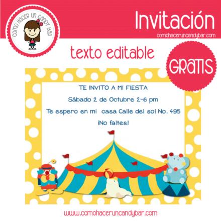 Invitación de Circo para descargar gratis